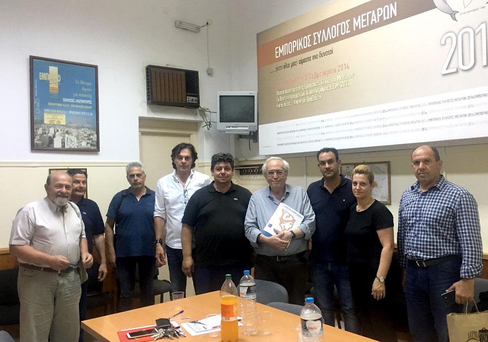 Α. Μπαλτάς, Β. Χατζόπουλος και μέλη ΣΥΡΙΖΑ στον Εμπορικό Σύλλογο Μεγάρων