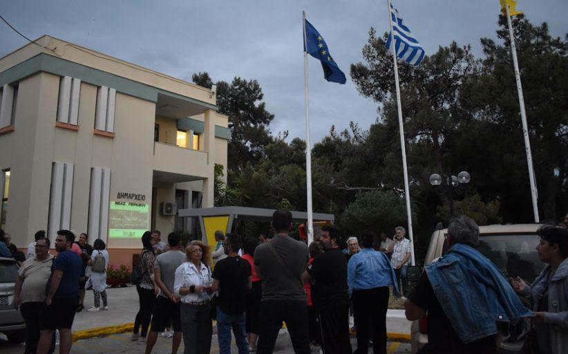 Διαμαρτυρία κατά της δομής μεταναστών στην Νέα Πέραμο